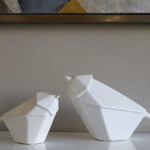 Parelha de Pássaros em Cerâmica Branco - Complementos de Decoração - Decor Império
