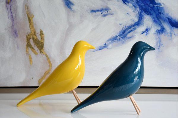 Pássaro Cerâmica Amarelo - Complementos de Decoração - Decor Império