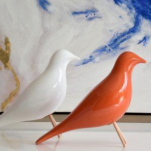 Pássaro Cerâmica Laranja - Complementos de Decoração - Decor Império