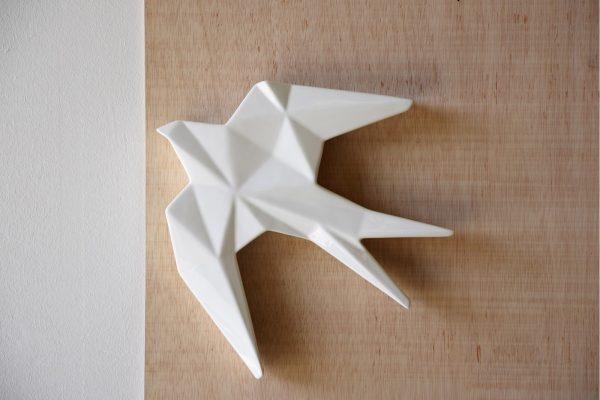 Andorinha Cerâmica Branca Grande - Complementos de Decoração - Decor Império