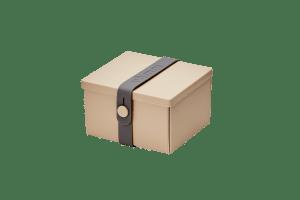 Uhmm Box Quadrada Creme - Cinza