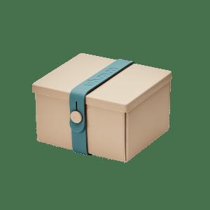Uhmm Box Quadrada Creme - Azul Petróleo